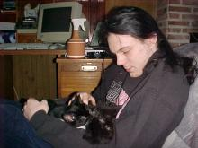 Me holding Haxortje and Phreakje when they were very young
